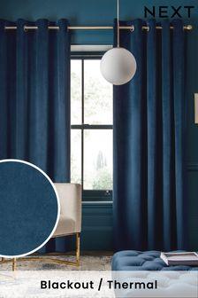 Navy Matte Velvet Eyelet Lined Curtains