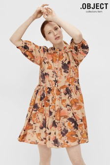 OBJECT Sustainable Orange Abstract Floral Print Galina Dress