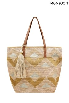 Monsoon Natural Gisele Geometric Metallic Shopper Bag