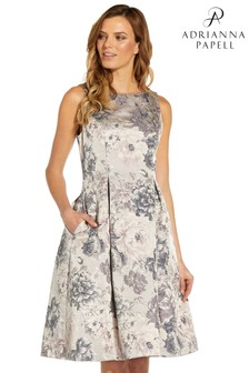 Adrianna Papell Silver Multi Floral Jacquard Fit And Flare Dress