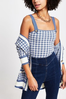 River Island Blue Houndstooth Camisole