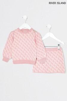 River Island Pink Monogram Skirt And Top Set