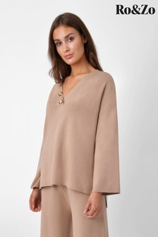 Ro&Zo Camel Knitted Horn Button Sweater