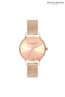 Olivia Burton Sunray Rose Gold Mesh Watch