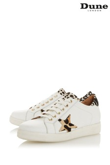 Dune London White Edris Leather_Mix Star Lace Up Trainers