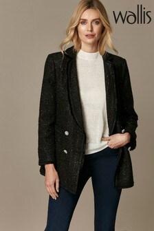 Wallis Black Bouclé Jacquard Button Jacket