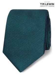 T.M. Lewin Forest Green Textured Birdseye Silk Slim Tie