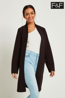 F&F Brown Crepe Patch Pocket Duster Jacket