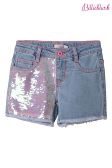Billieblush Blue Bleach Denim Sequin Shorts
