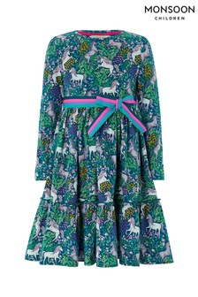 Monsoon Children Green S.E.W Cleo Unicorn Jersey Dress
