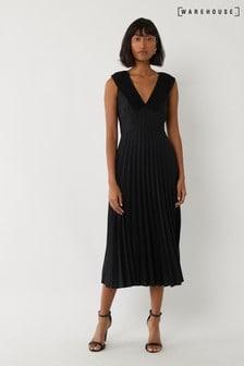 Warehouse Black Pleated V-Neck Midi Dress