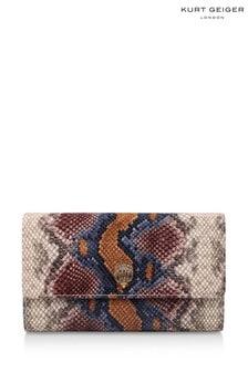Kurt Geiger London Purple Snake Print Kensington Chain Wallet Bag