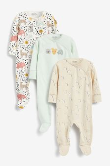 3 Pack Footless Sleepsuits (0mths-3yrs)
