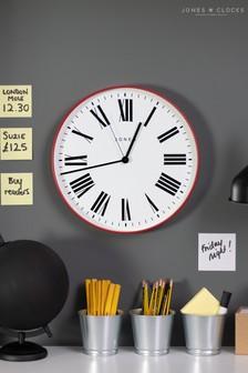 Jones Clocks Magazine Red Wall Clock