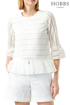 Hobbs Cream Emelie Broderie Top