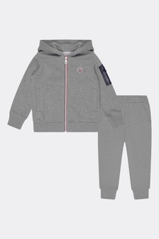 Boys Grey Cotton Logo Print Tracksuit