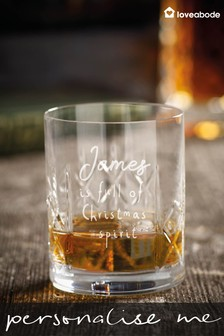 Personalised Christmas Spirit Crystal Whiskey Glass by Loveabode