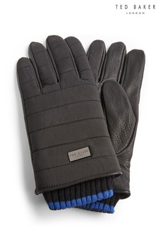 Ted Baker Black Bummp Nylon Quilted Gloves