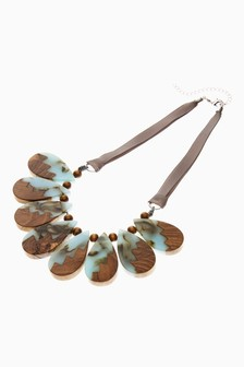 And Resin Ribbon Statement Necklace