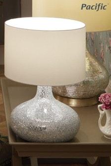 Pacific Silver/White Evie Mosaic Mirror Table Lamp