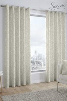 Alexa Jacquard Eyelet Curtains by Serene