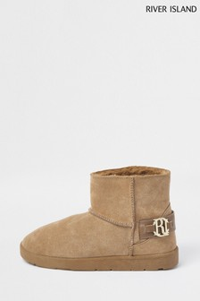 River Island Cream Beige Dark 7436 Faux Fur Lined Boots
