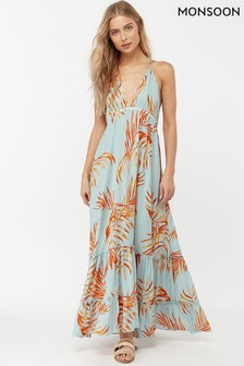 Monsoon Ladies Blue Ayla Palm Leaves Maxi Dress