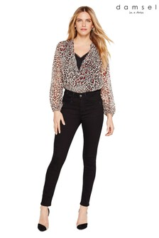 Damsel In A Dress Neutral Caley Animal Print Wrap Blouse