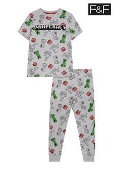F&F Grey Marl Minecraft Print Hanging Pyjamas