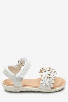 Helpful Ladies White Flat Diamond T-bar Sandals Uk Size 6 eu 39 .