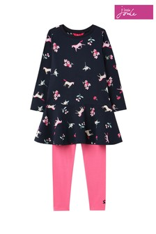 Joules Pink Iona Dress And Leggings Set