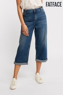 FatFace Blue Mid Wash Wide Leg Cropped Jean