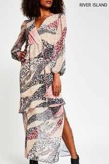 River Island Pink Medium Animal Maxi Day Dress