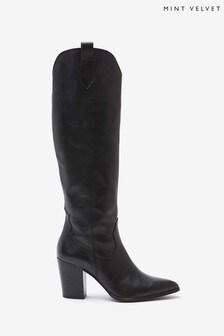 Mint Velvet Reece Black Leather Long Boots