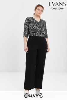 Evans Curve Black Short Length Wide Leg Trousers