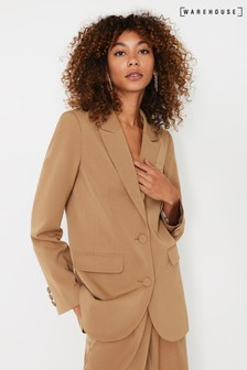 Warehouse Brown Crepe Blazer