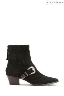 Mint Velvet Anisa Black Suede Cowboy Boots