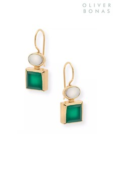 Oliver Bonas Green Malva Square Gold Plated Brass Drop Earrings