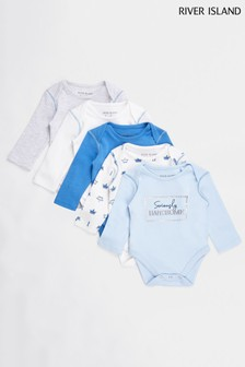 River Island Blue Light Boys Basic Babygrows Five Pack