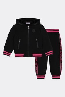Girls Black Cotton Tracksuit