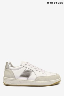Whistles White Silver Stripe Kew Trainers