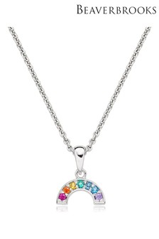 Beaverbrooks Mini B Cubic Zirconia Rainbow Necklace