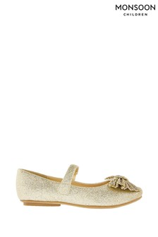 Monsoon Gold Glitter Bow Ballerinas
