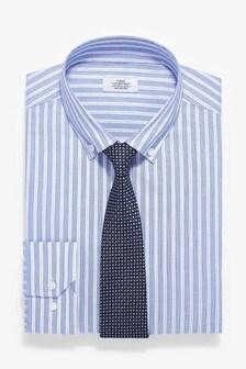 Slim Fit Button Down Cotton Striped Shirt