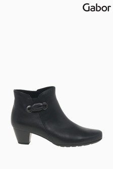 Gabor Keegan Black Leather Fashion Ankle Boots