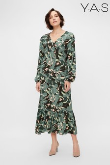 Y.A.S Sustainable Green Floral Print Rainforest Maxi Dress