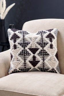 Indoor/Outdoor Recycled Borra Tufted Geo Cushion