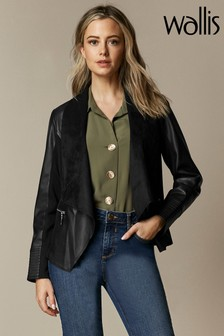 Wallis Black Petite Zip Detail Waterfall Jacket