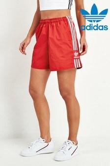 adidas Originals Red 3 Stripe Trefoil Shorts