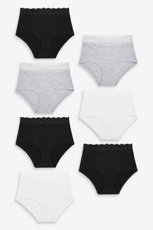 Lace Trim Cotton Blend Knickers Seven Pack